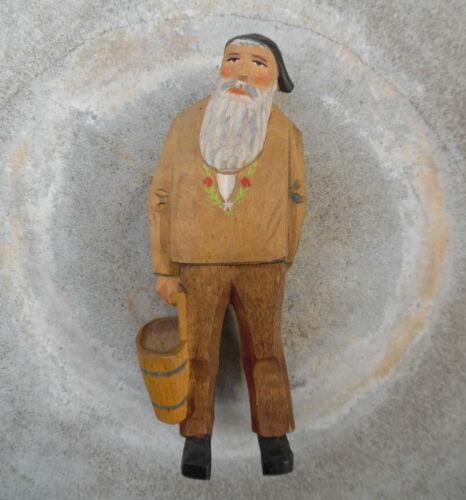 HUGGLER WYSS BRIENZ SWITZERLAND CARVED WOOD SWISS MAN W GOAT MILK BUCKET