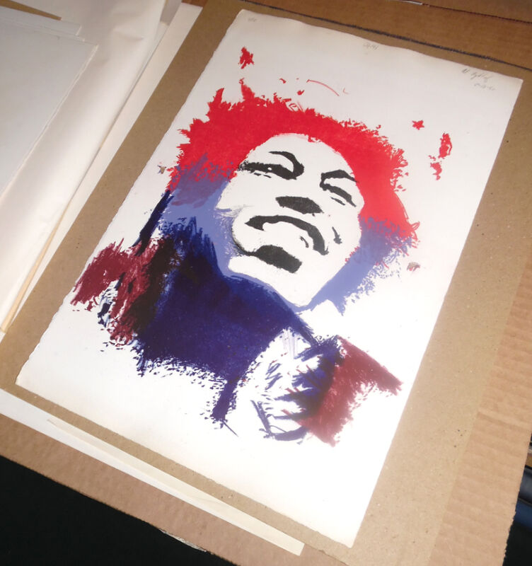Jimi Hendrix Abstract Print by Albert Rykhof III - Lithograph #11 - Musicians