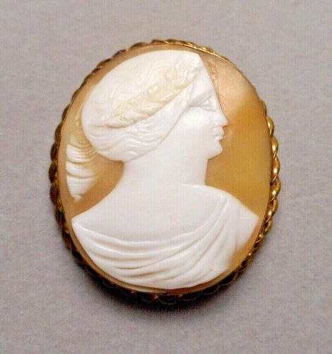 Antique Victorian G-F Brooch Pin w/ Naive Carved Shell Cameo - Classical Profile