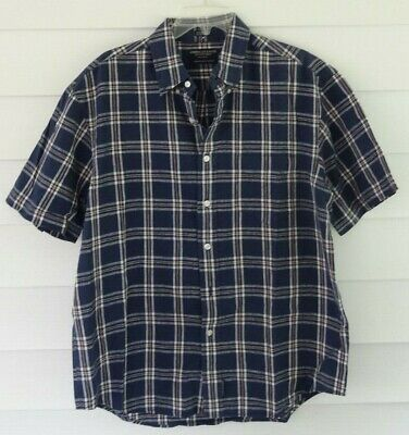 American Eagle Outfitters Men's Corded Plaid SS Single Pocket Camp Shirt Size M Mens Cord Camp Shirt