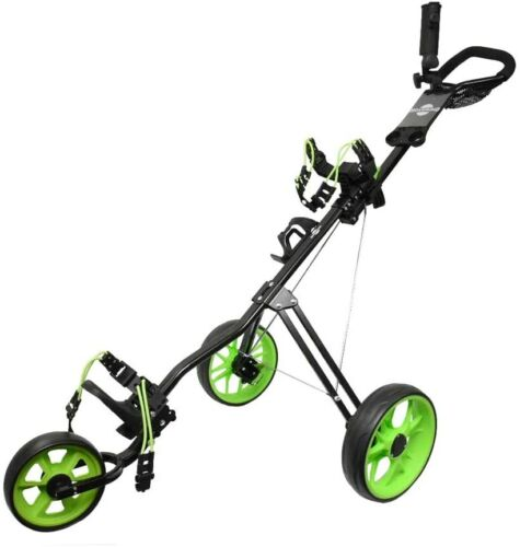 Hoveroid 3 Wheel Foldable Golf Push / Pull Cart Aluminum Structure 11.5 Lime