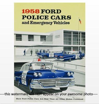 1958 FORD Police Car PHOTO Ad Policeman Cruiser 58 Ford Custom 300 Series