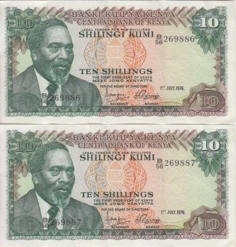 Kenya Banknote P12-9886-87 10 Shillings 1.7.1976 Scarce, Consecutive Pair, VF-EF