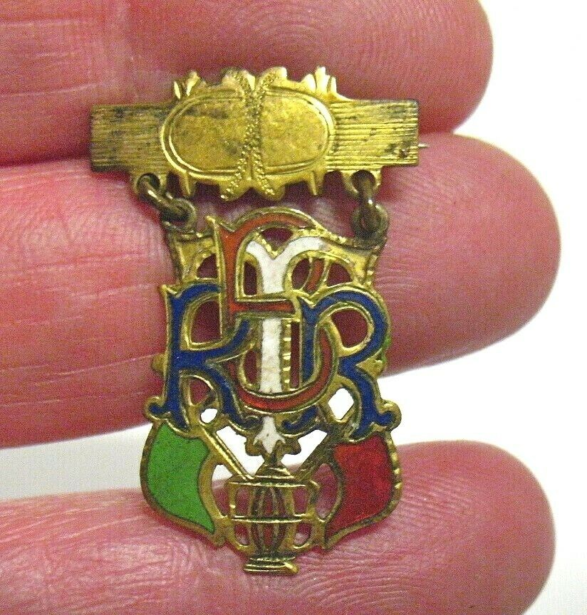 ANTIQUE ENAMEL GOLD RACE BOAT REGATTA LAPEL PIN MEDAL