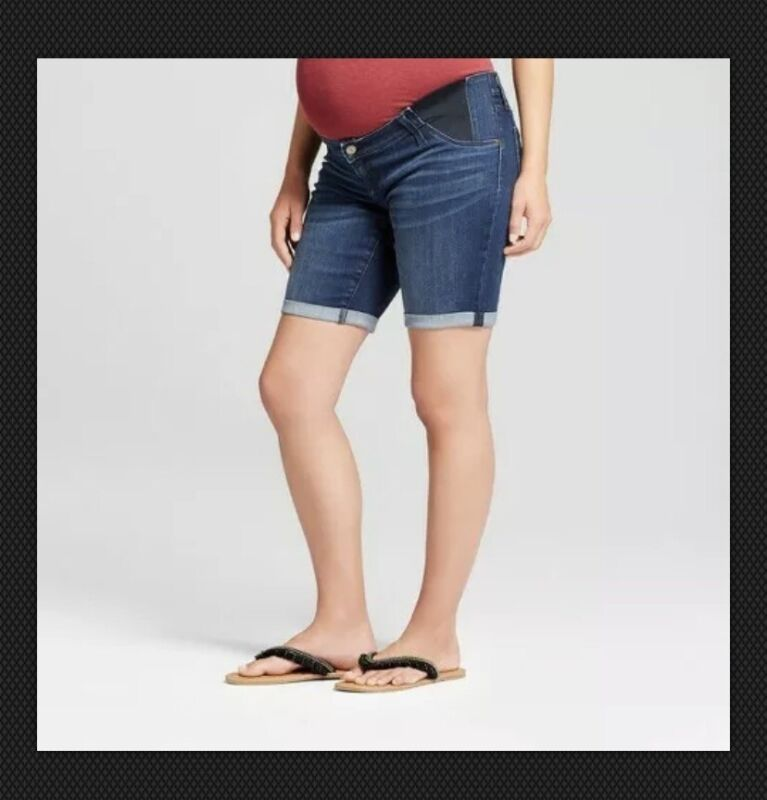 Maternity Inset Panel Bermuda Jean Shorts - Dark Wash -  Sizes  4 & 18 #091