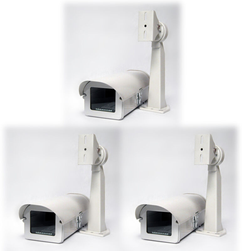 Pack of 3 Outdoor Camera Housing, Side-Opening, Heater & Fan, Mounting