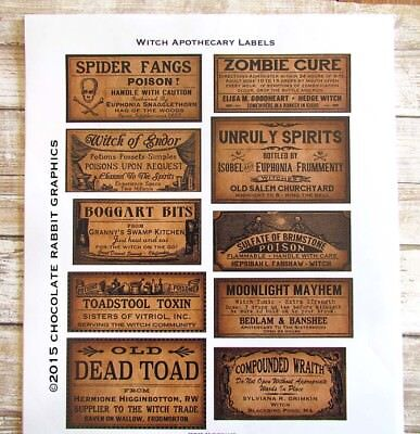 Halloween Potion Bottle Labels, Uncut Label Stickers Set of 10