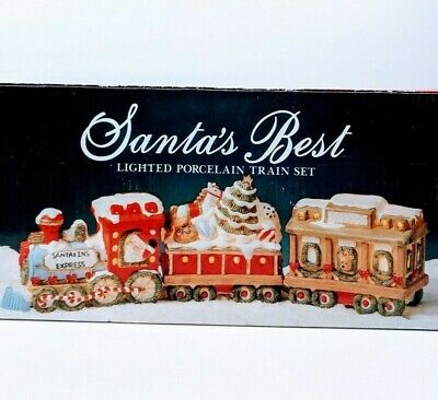 Vintage Santas Best Lighted Porcelain Train Set Christmas Decoration 3-pc