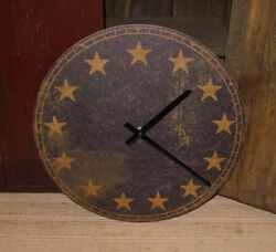 Americana Wall CLOCK*Navy Blue*13 Gold Star*Primitive Farmhouse Colonial Decor