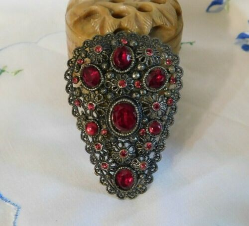 Art Deco Red Faceted Glass Dress Clip New England Glass Works Signed NE