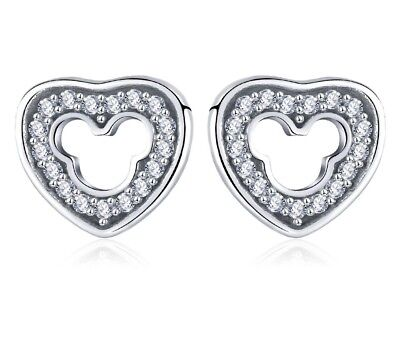 Dazzling platinum Mickey mouse heart shaped cubic zirconia stud earrings - Heart Shaped Mouse