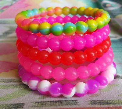Beaded Silicone Bracelet Light Pink Red Neon Pink Purple Mixed Buy 2 get 2 Free](Wristband Light)