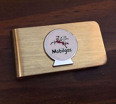 Mobil Gas Station & Oil for Automobiles Brass Vintage Money Clip Holder