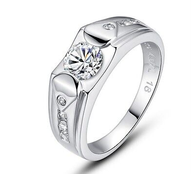 14K White Gold Pl. 925 Sterling Silver Promise Ring Luxury Men's Charms Jewelry Fashion Jewelry