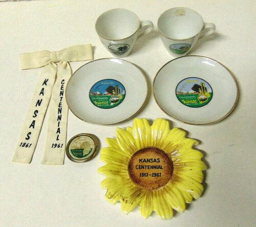 Lot of Kansas 1861-1961 Centennial Items: Demitasse Cup/Saucer Sunflower Trivet