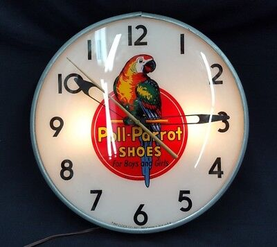 Vintage Pam Clock Company Poll-Parrot Shoes Round Electric Wall Clock