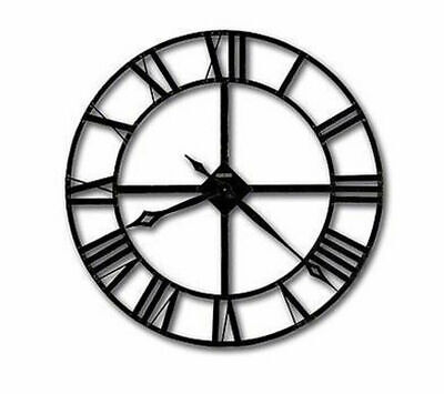 Metal Wall Clock 40cm Roman Numerals Hanging Kitchen Living Fittings Bathroom