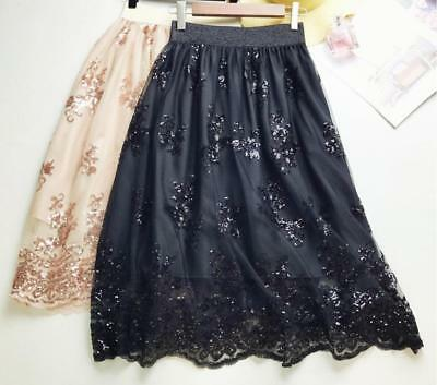 Women's Lace Mesh Tulle Sequin Floral Tutu Party Casual Skirt Black/Gold