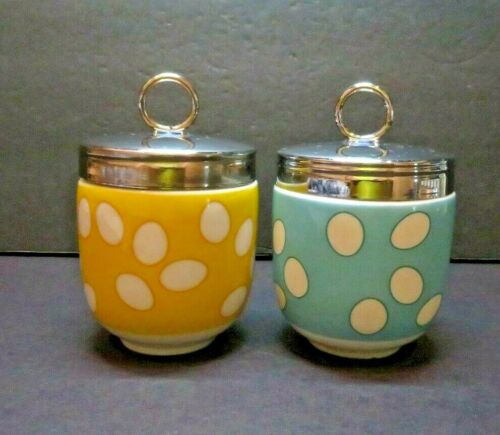 BIA International Egg coddlers, yellow with white dots and blue with white dots.
