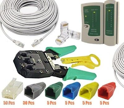 50M Cat5e Network RJ45 LAN Cable Tester Crimping Tool Kit Boots End...