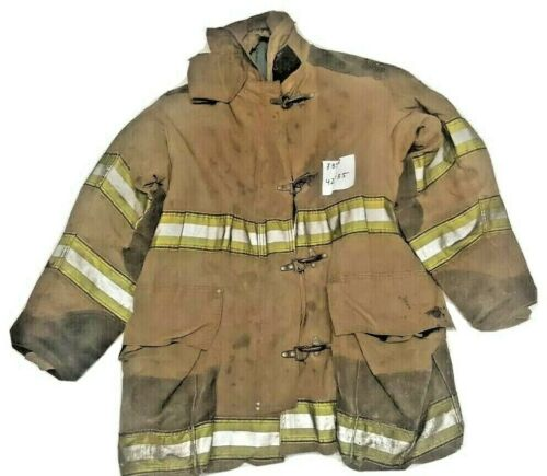 42x35 Globe Firefighter Brown Turnout Jacket Coat with Yellow Tape J858