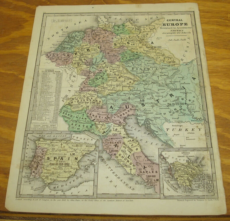 1843 Smith's Antique COLOR Map/CENTRAL EUROPE