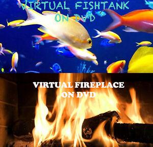 VIRTUAL FISH TANK & FIRE PLACE LOG FIRE AQUARIUM MARINE DOUBLE DVD SET 2 X