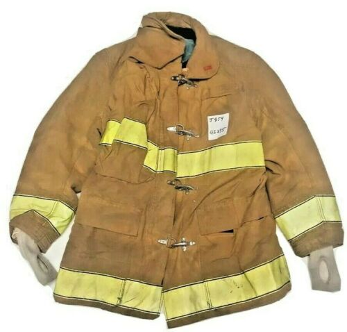 42x35 Globe Firefighter Brown Turnout Jacket Coat with Yellow Tape J854
