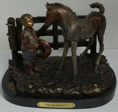 "Kathy Fincher, ""Howdy Partner"" Retired Resin Sculpture, Cowboy, Horse, western"