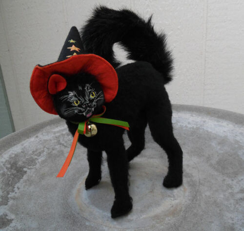 CAT ANNALEE HALLOWEEN BLACK CAT DOLL 2007 WITH WITCHES HAT AND JINGLE BOW #1