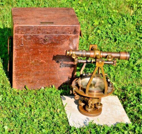 Fantastic Antique c1900 Brass W & L.E Gurley Surveyor Transit Instrument Compass
