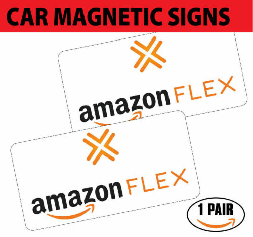 """(2 MAG) Amazon Flex Car Magnets VEHICLE SIGNS 6"""" x 12"""" FREE SHIPPING"""