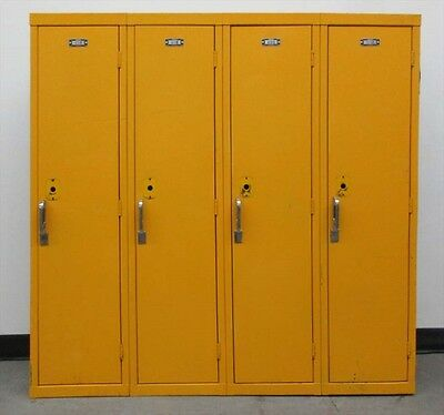 Used Yellow Kids School Metal Lockers 48w X 12d X 48h