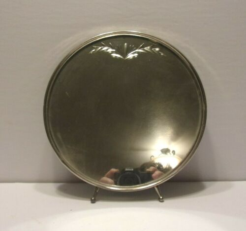 VINTAGE ROUND METAL FRAMED ETCHED MIRROR WITH STAND