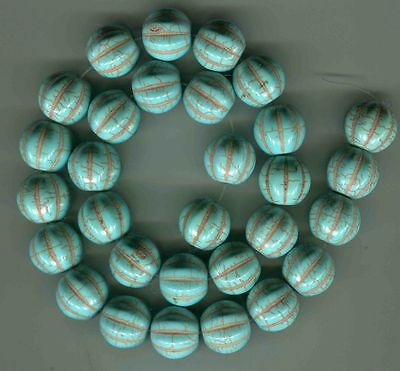 very nice melon shaped Chinese turquoise beads new 30 beads 15mm