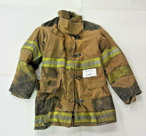 38x32 Globe Firefighter Brown Turnout Jacket Coat with Yellow Tape  J840