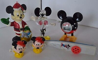 Vintage Mickey Minnie Mouse Figures Lot 4 Glass Ornaments Clock
