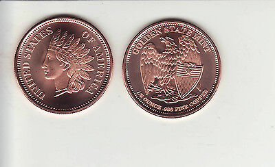 "INDIAN HEAD CENT  1/2 oz.  Copper Round coin  ""Shield"" reverse"