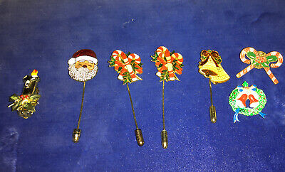 10 Christmas Holiday Stick Pins Earrings Candy Canes Santa Claus Wreath Candle