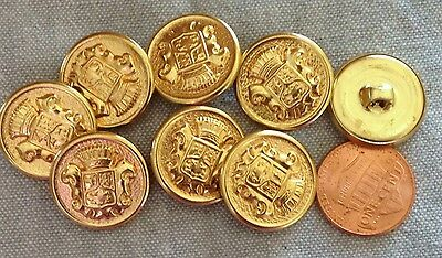 - 8 Shiny Gold Tone Metal Shank Buttons Puffed Crown Crest 3/4