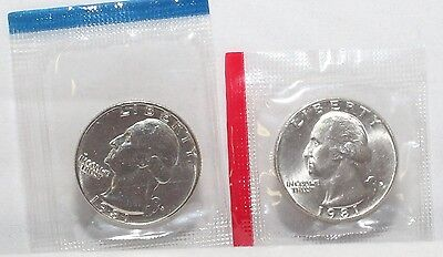 1981 P D WASHINGTON QUARTERS BU IN US MINT CELLO - 2 COIN SET