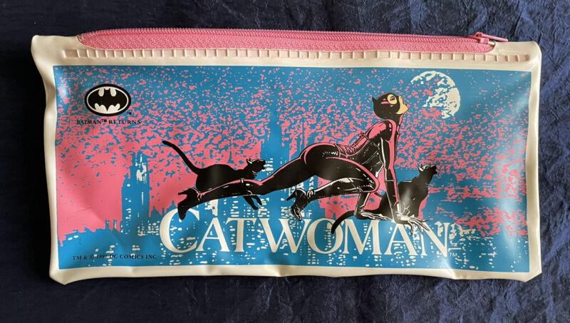VINTAGE 1991 Catwoman (Batman Returns) Pencil Pouch w/Black Cats DC Comics CLEAN