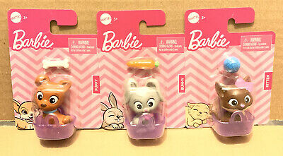 Barbie Pets Lot Of 3~Puppy, Bunny, & Kitten. Each With Basket & Accessories. New