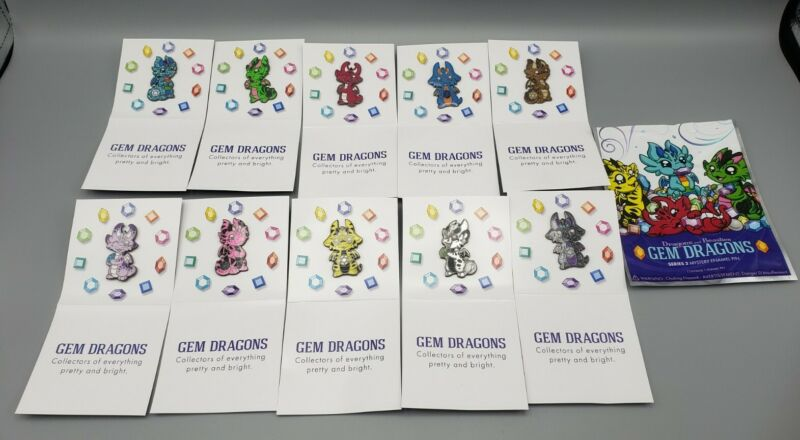 DRAGONS AND BEASTIES GEM DRAGONS SERIES 2 MYSTERY ENAMEL PINS COMPLETE SET OF 10