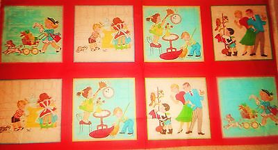 Vintage Design Little Helpers Square Blocks Quilt Panel Cotton Fabric