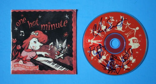 """Autographed Hand Signed THE RED HOT CHILI PEPPERS """"one hot minute"""" CD"""