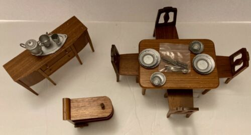 Vtg Strombecker Dollhouse Miniature 7-Piece + Walnut Dining Room Set-1930's/40's