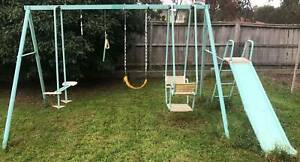 Metal Swing Set Slide Bars Four Stations trapeze boat dual glider Rowville Knox Area Preview