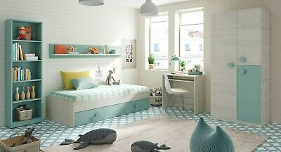 Pack habitacion juvenil verde blanco alpes completo infantil CON SOMIERES