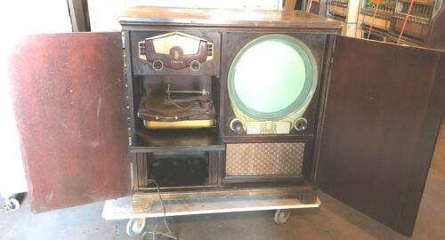ANTIQUE VINTAGE TELEVISION PHONOGRAPH ZENITH ROUND TUBE RARE